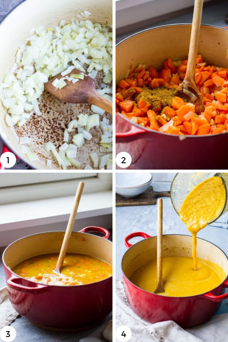 Step by step to make curry coconut carrot soup.