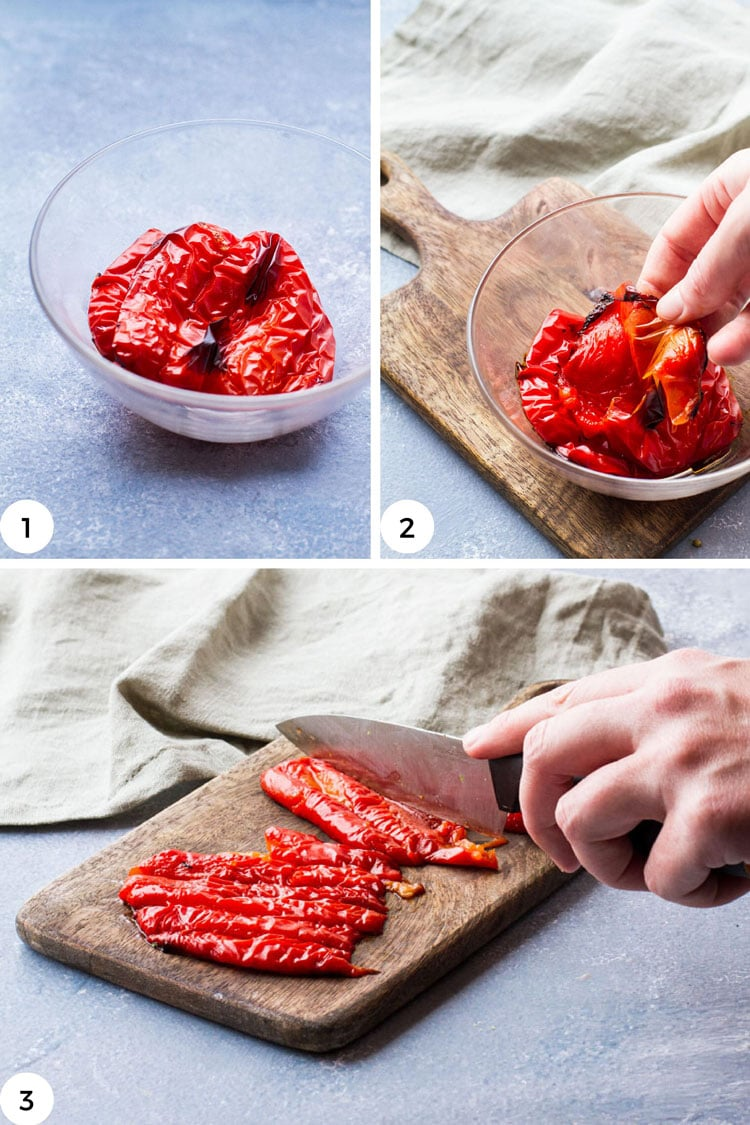 Steps to roast red bell peppers.