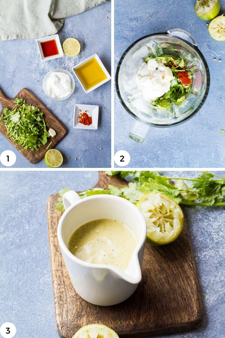Steps to make creamy cilantro dressing.