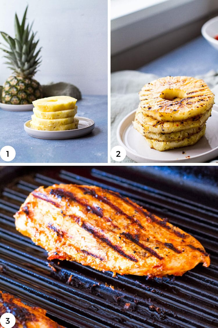 How to grill pineapple and chicken breast.