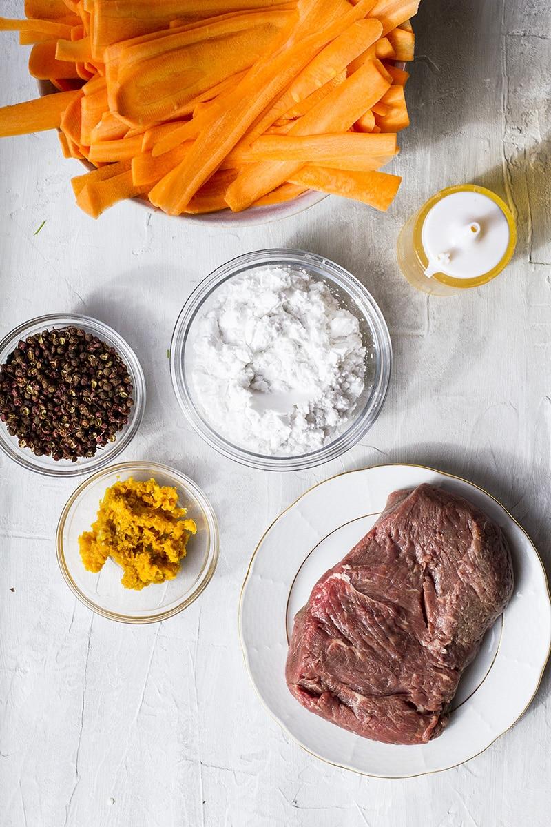 Ingredients to make the orange beef.