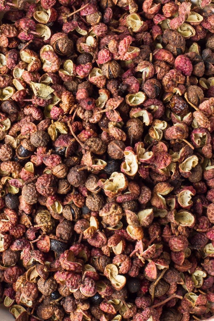 Close-up of Szechuan peppercorns.