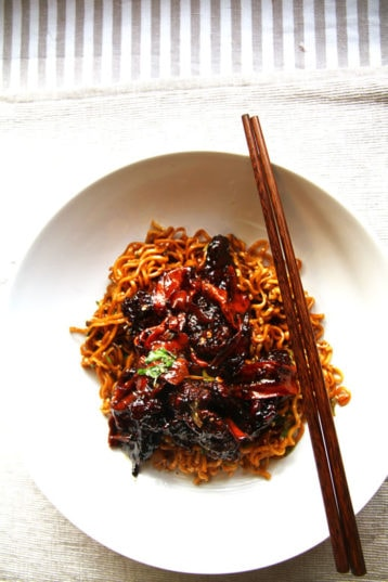 Spicy Chili Beef with Cilantro Fried Noodles