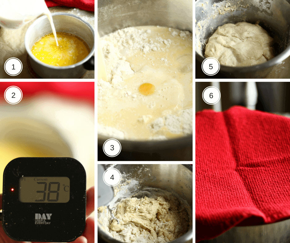 6 step by step photos to show how to make Sweet Rolls
