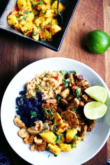 Cuban Quinoa Bowl with Mango Salsa and Fried Bananas