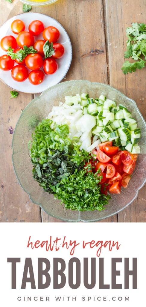 Ingredients to make this tabbouleh recipe, separate in a clear bowl. Pinterest pin.