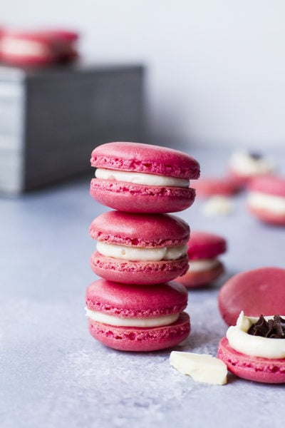 Peppermint Mocha Macarons with White Chocolate