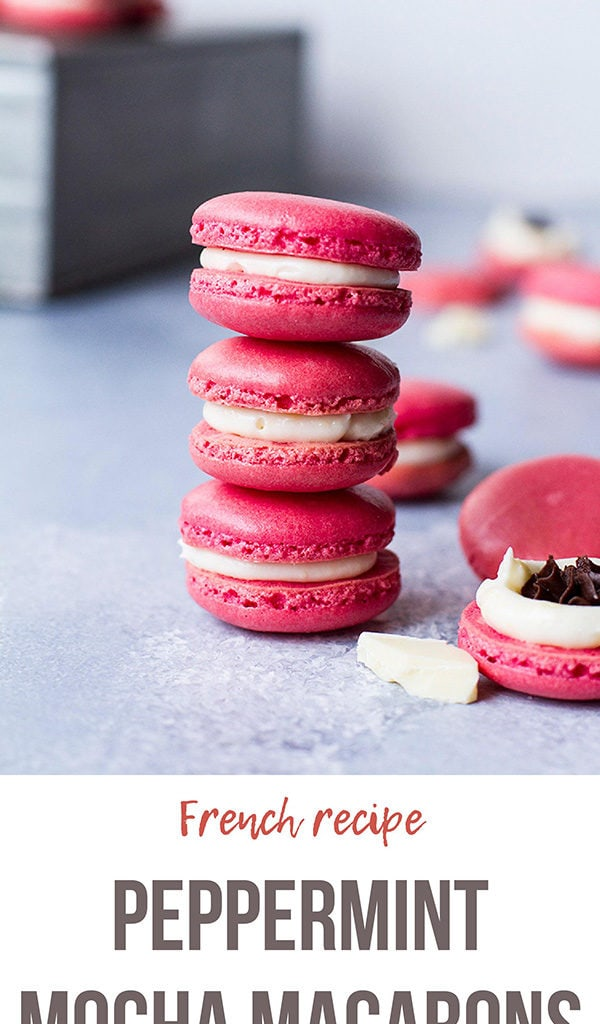 A stack of pink macarons. Pinterest long pin.