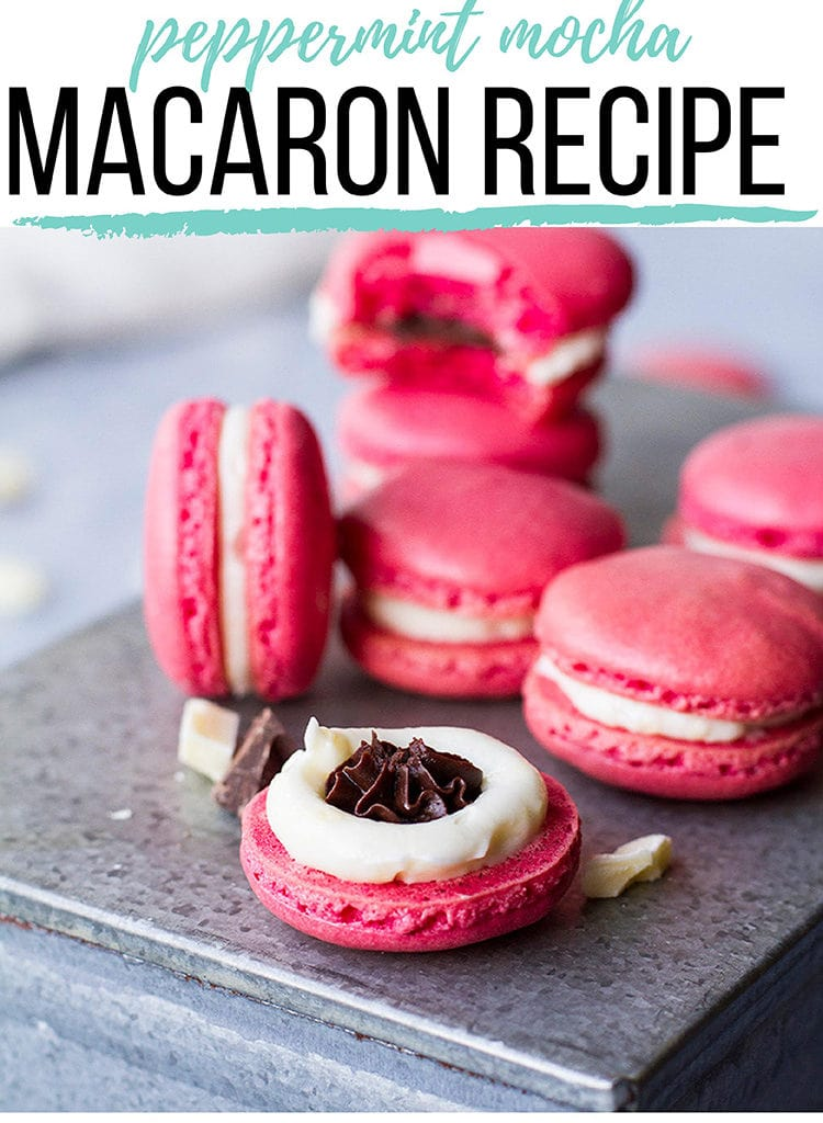 Pink macarons with white filling and mocha center. Pinterest pin.