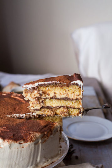 Decadent Tiramisu Cake with White Chocolate Mousse