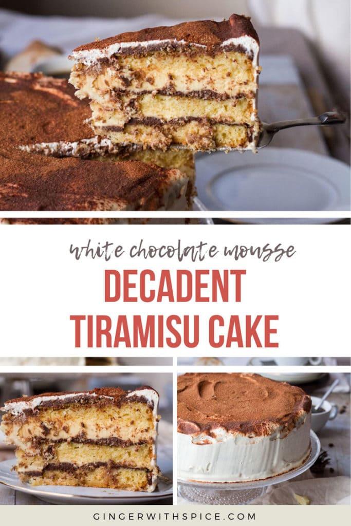 Tiramisu Cake pinterest pin with text overlay. 3 images of the cake.