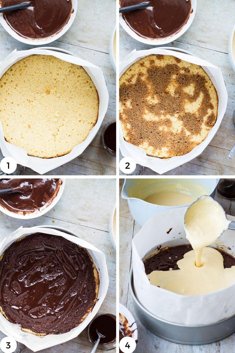 Steps on how to layer tiramisu cake.