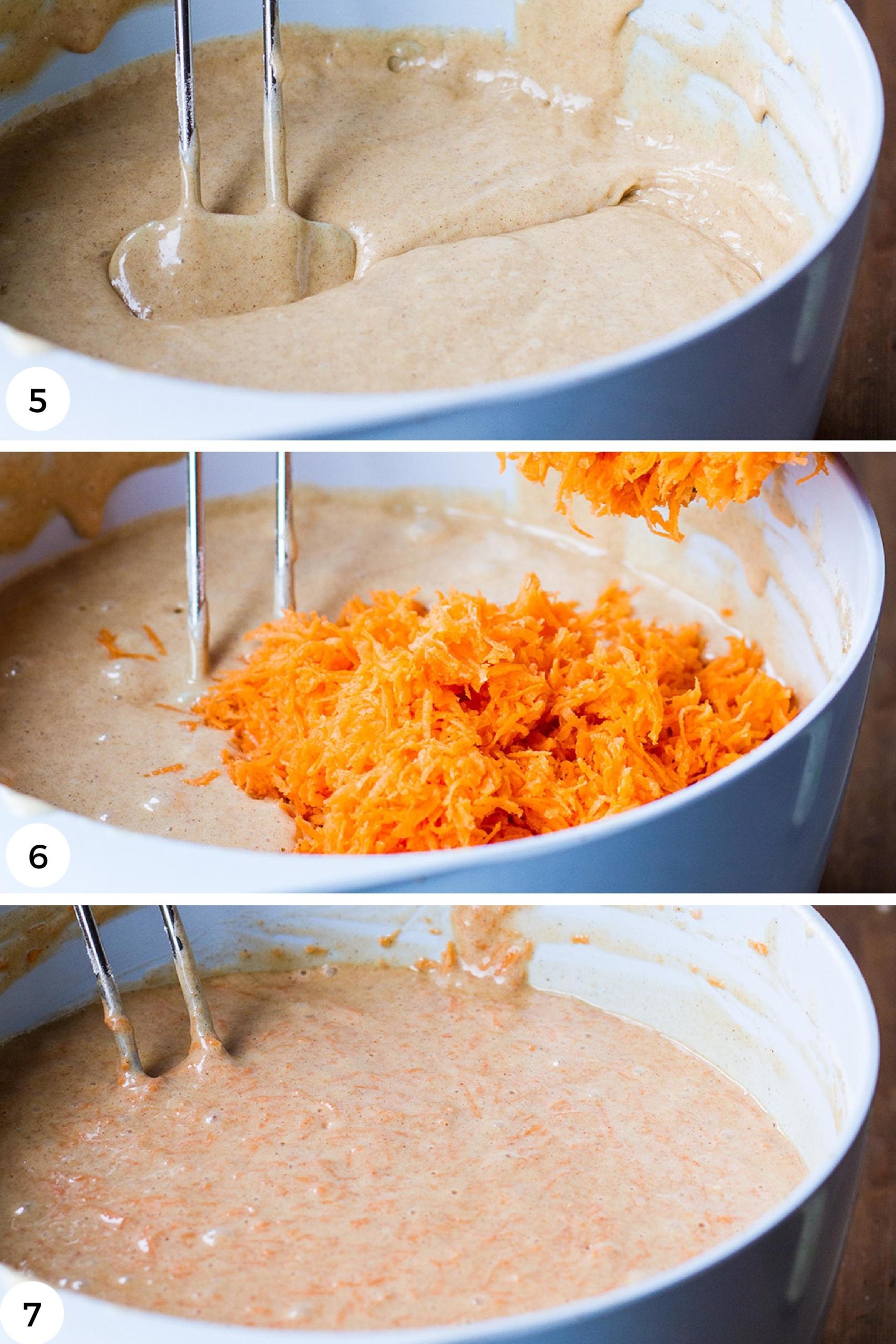 Adding shredded carrot to the cake batter.