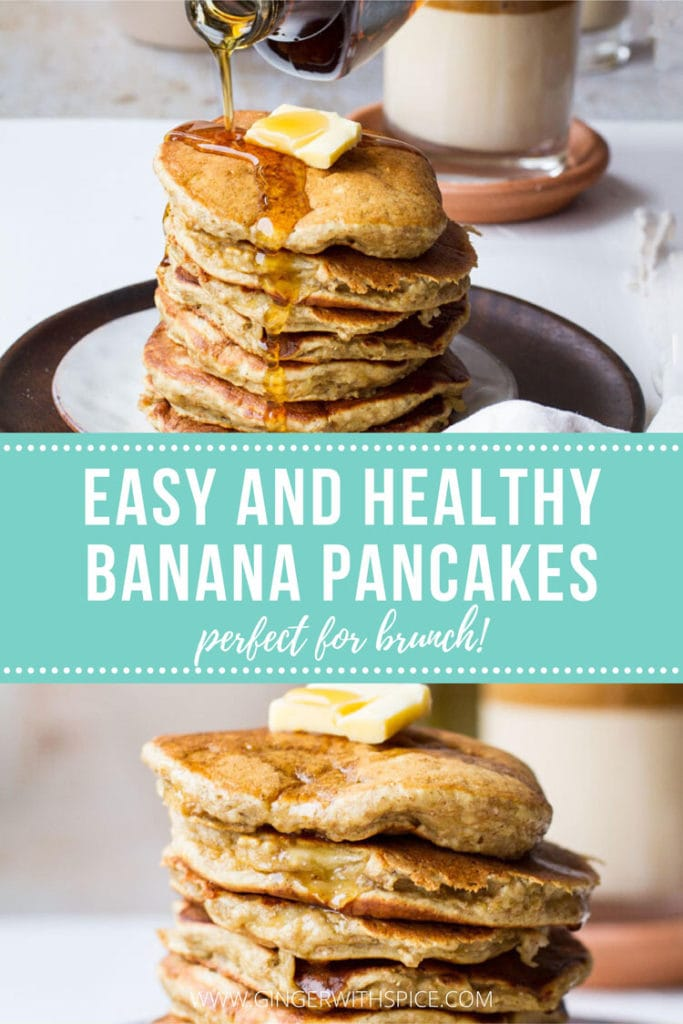 Two images of healthy banana pancakes with text overlay over turquoise background.