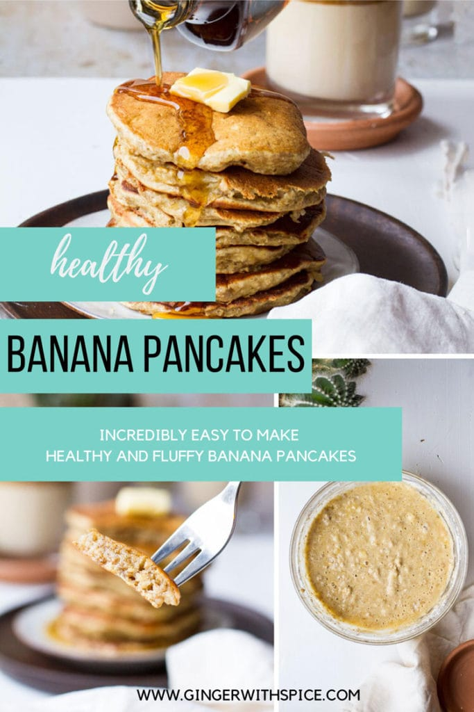 Three images from post with healthy banana pancakes text in turquoise boxes to the left.