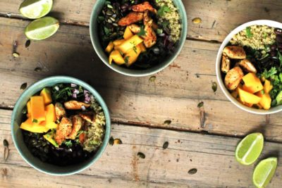 Mango Chipotle Quinoa Bowl with Optional Lime Chicken