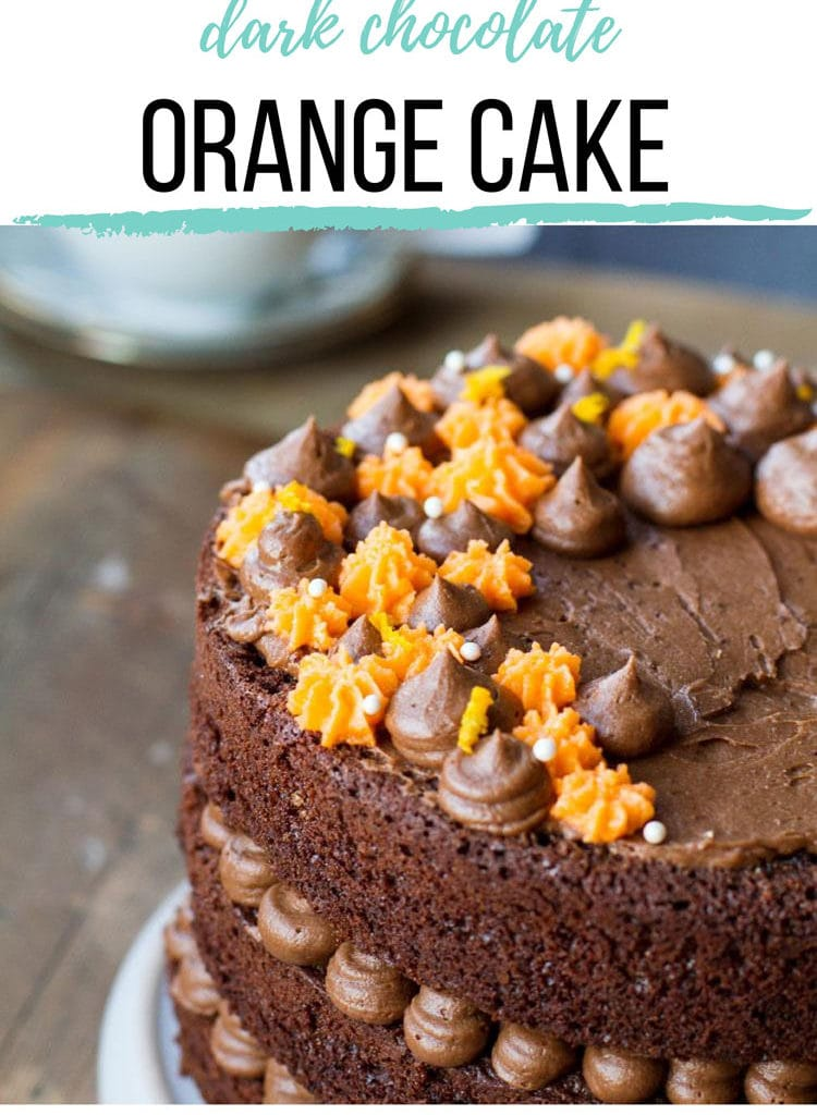 Side angle of the orange chocolate cake to show both the top and the sides. Pinterest pin.