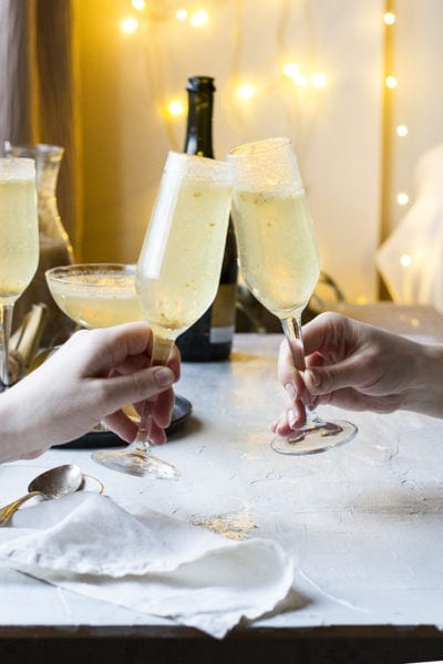 Festive Ginger Pear Bellini Recipe with 'Gold Flakes'