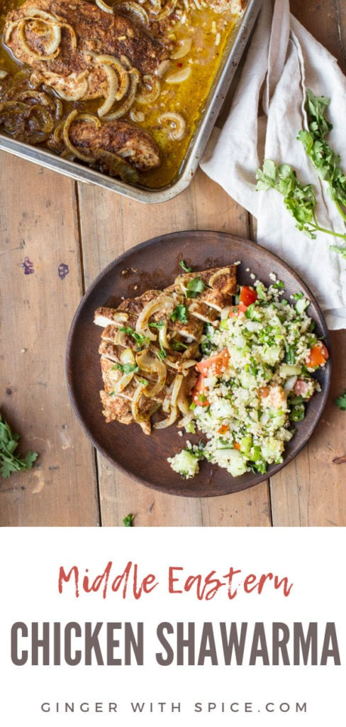 How to serve chicken shawarma: with tabbouleh on a wooden plate. Pinterest pin.