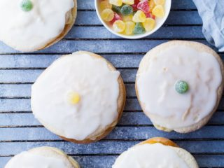 Soft cakes decorated with the traditional jelly candy. Flatlay.
