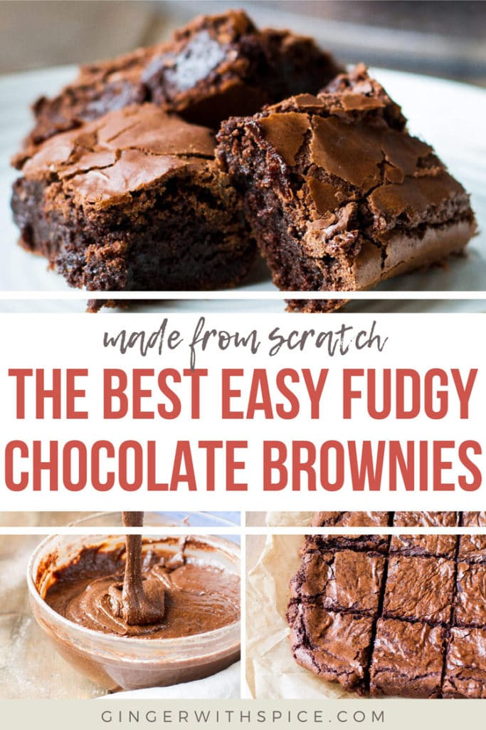 Pinterest pin with text overlay The Best Easy Fudgy Chocolate Brownies and three images from post.