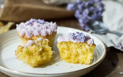 Lilac Lemon Cupcakes + Recipe for Lilac Sugar and Lilac Syrup