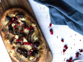 Za'atar Date and Goat Cheese Naan with Pomegranates