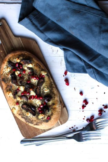 Za'atar Date and Goat Cheese Naan with Pomegranate