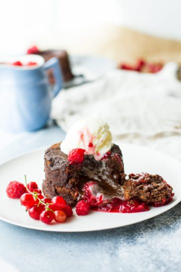 Chocolate Lava Cake with a Raspberry Red Currant Sauce