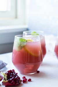 Cucumber Pomegranate Vodka Lemonade + Mocktail