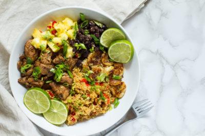 Jamaican Jerk Chicken Quinoa Bowl with Pineapple Salsa & Fried Bananas