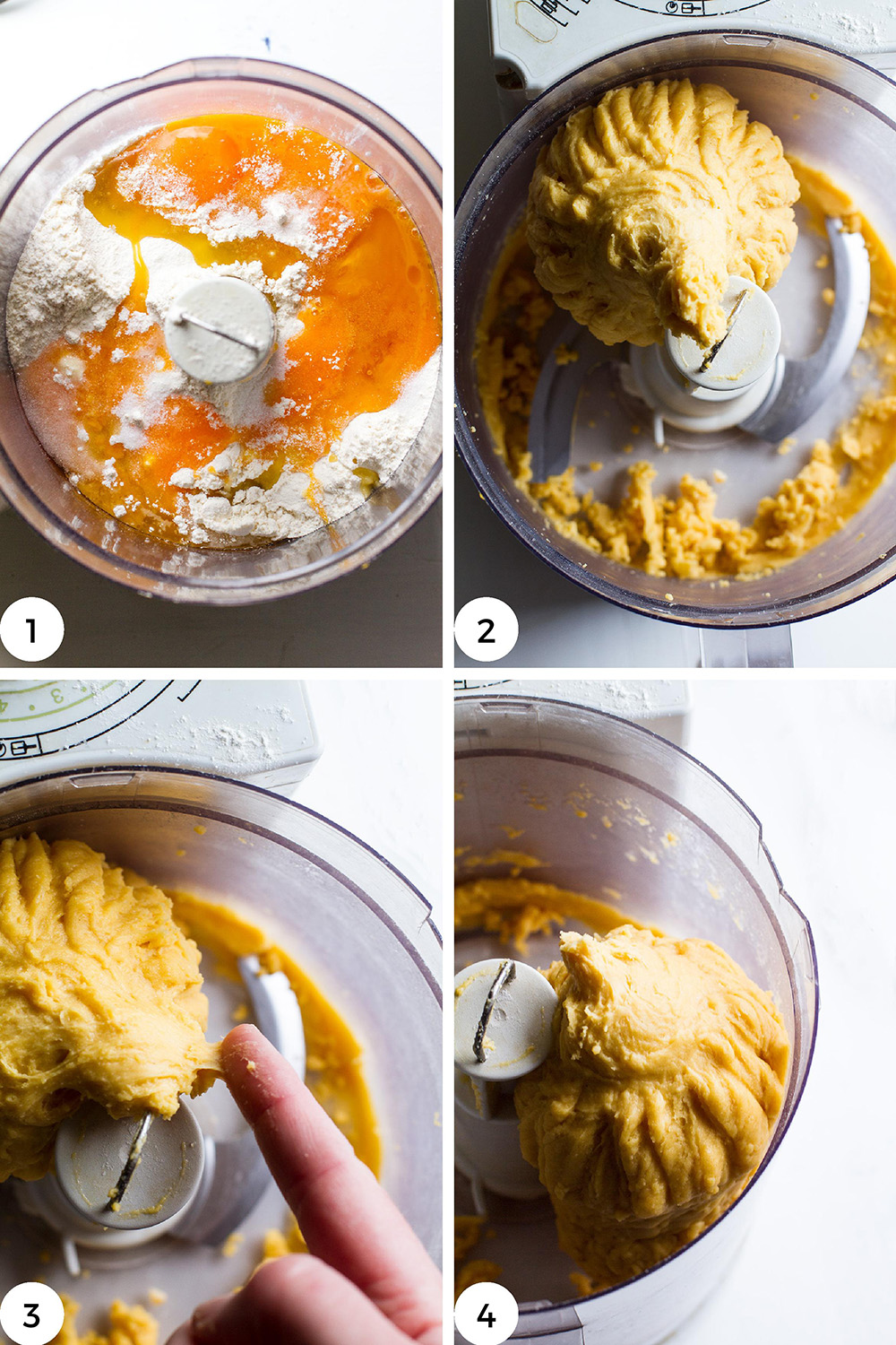 Steps to make pasta dough in food processor.