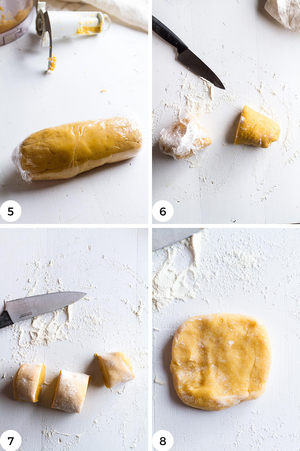 Steps to shape the pasta discs.