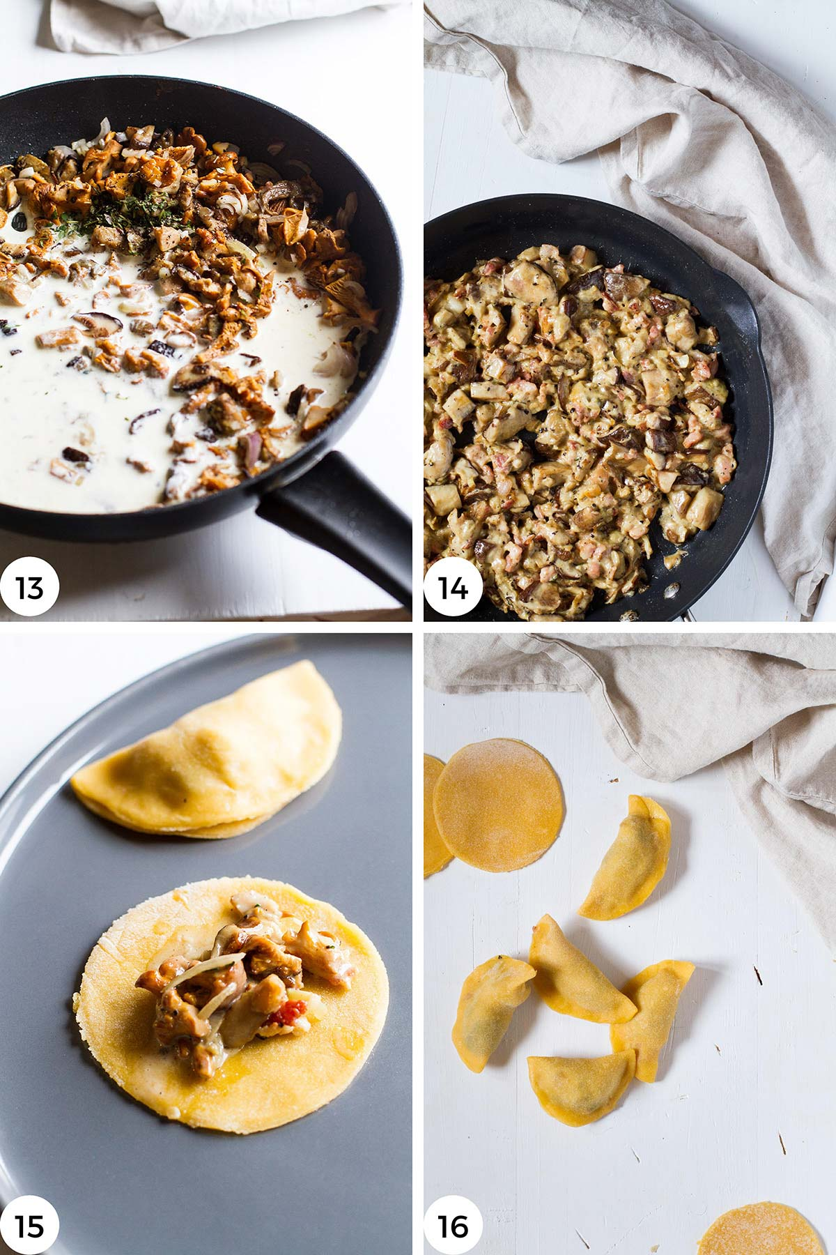 Steps to make filling and to fill the raviolis.