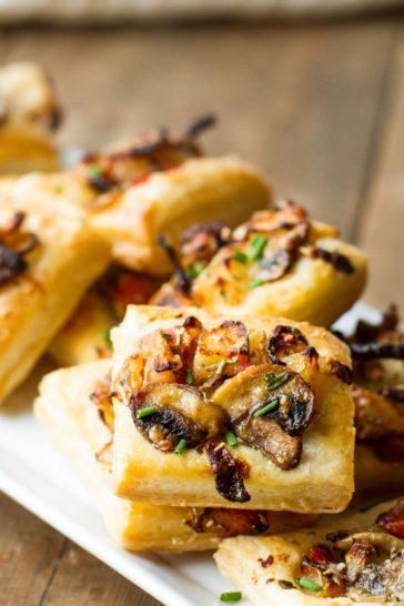 Caramelized Onion, Mushroom and Apple Puffs