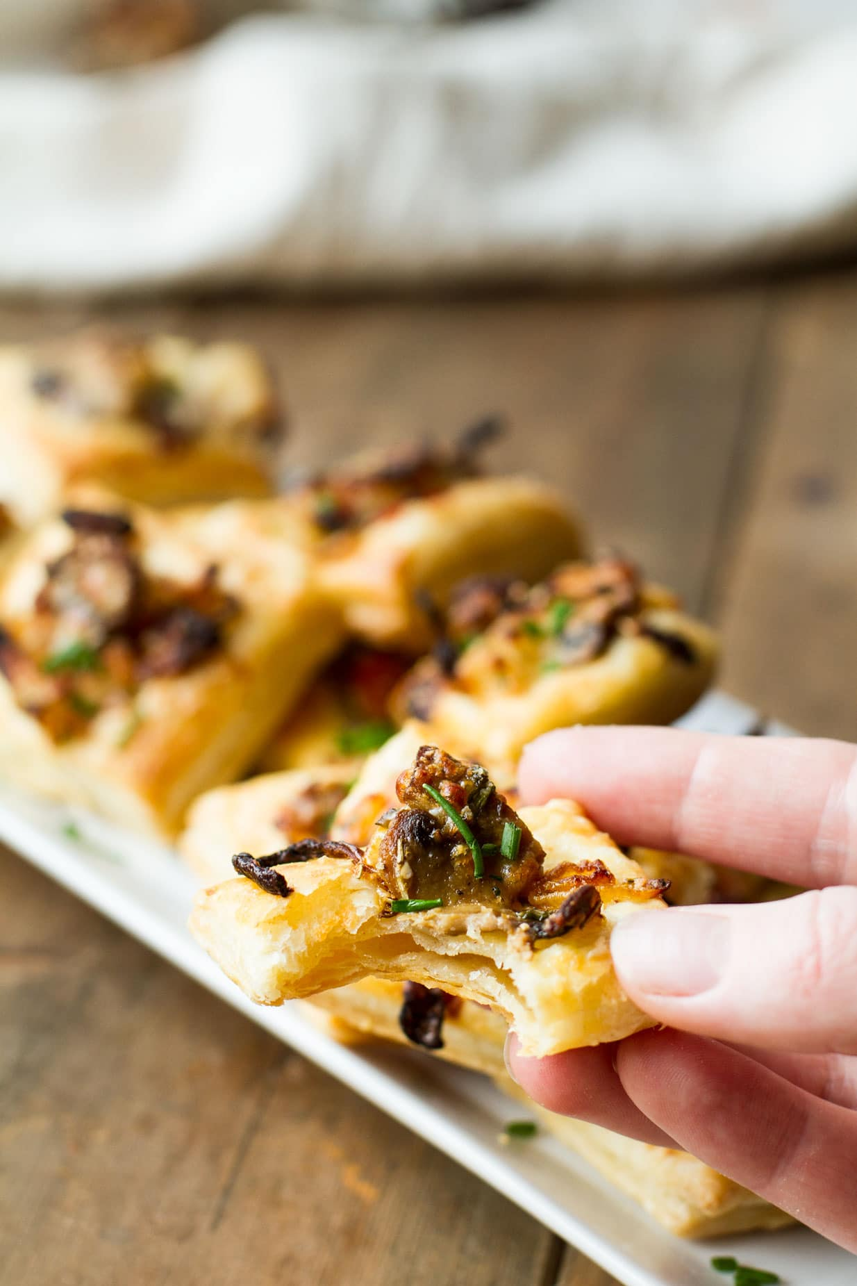 Caramelized Onion, Mushroom and Apple Puffs