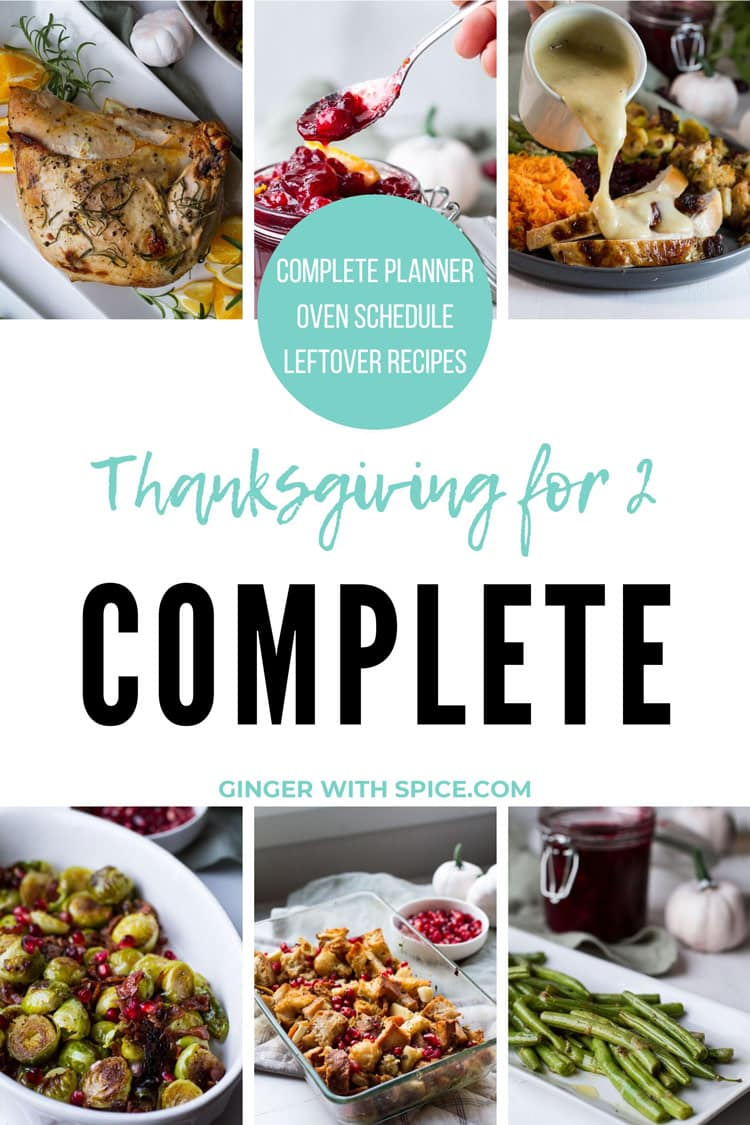 Pinterest pin for Thanksgiving for two. White background.