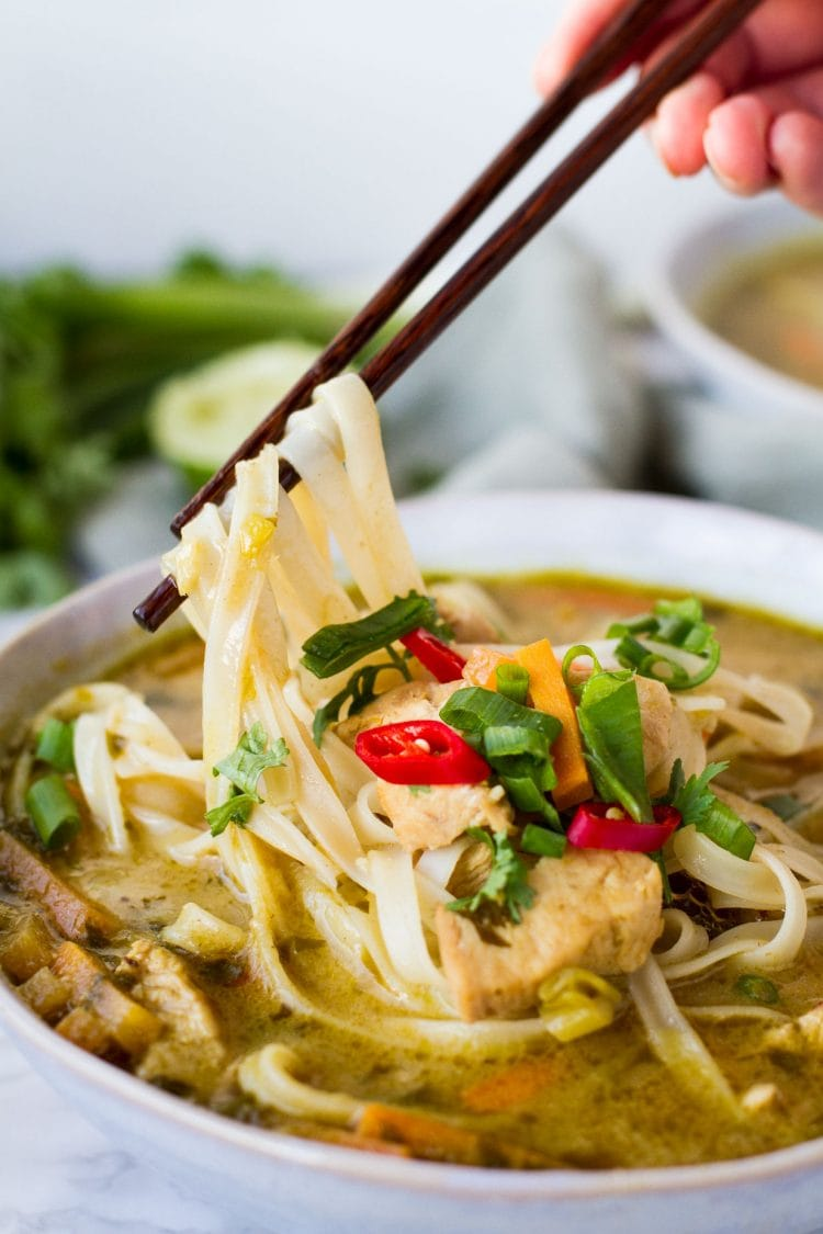 Skinny Thai Chicken Noodle Soup