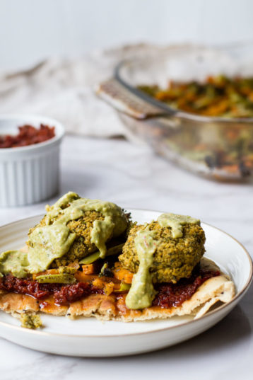 Crispy Baked Falafel and Za'atar Roasted Vegetables