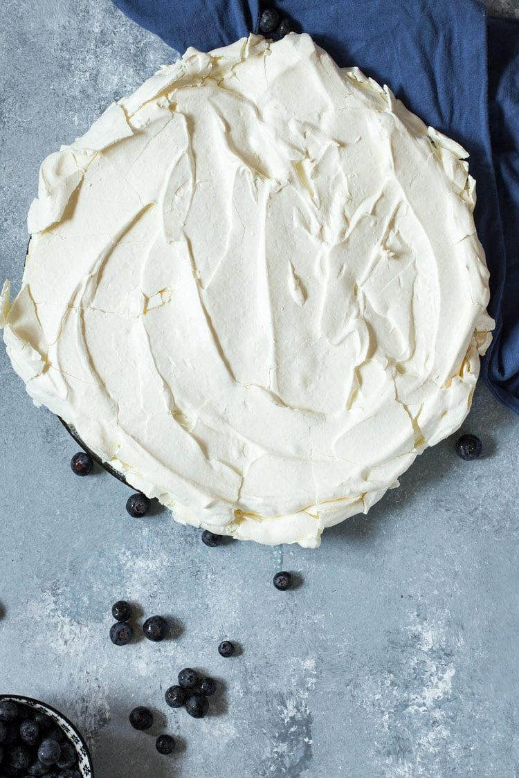 Baked and finish pavlova cake for Summer Berry Pavlova Recipe