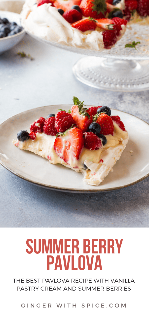 Pinterest pin of The Best Summer Berry Pavlova Cake