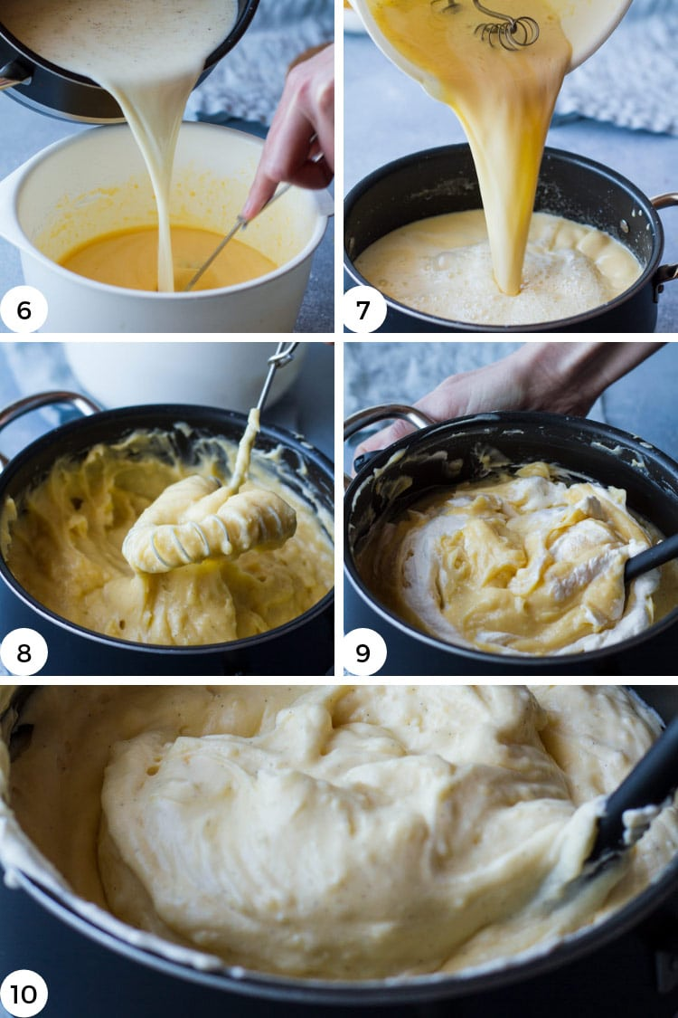 Step by step photos for how to make vanilla pastry cream