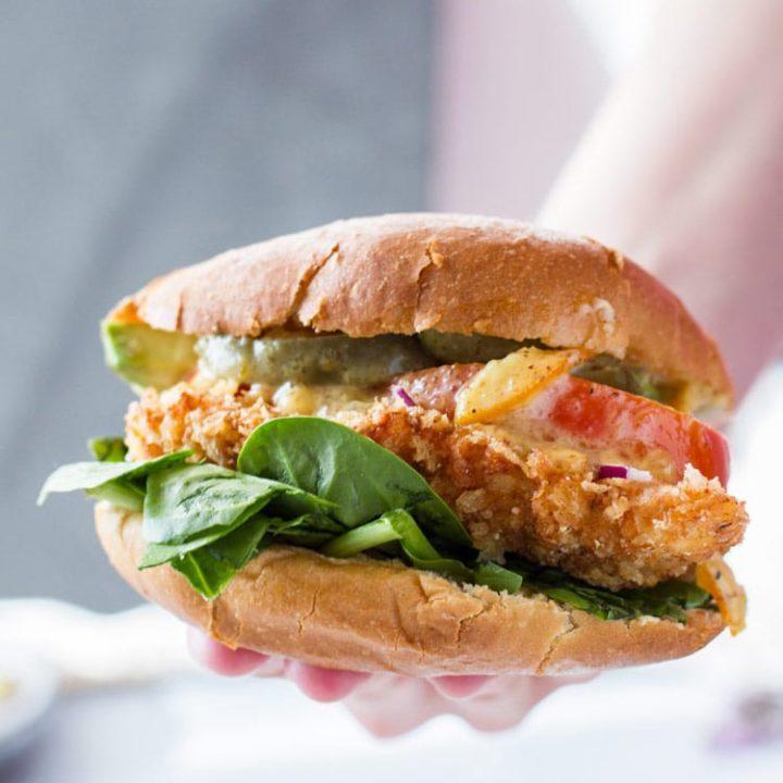 Panko Chicken Burger in hand.