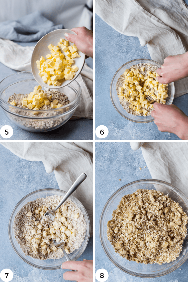 Step by step photos for cutting butter into flour for rhubarb crisp.