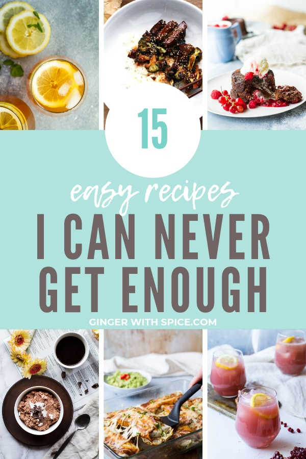 Collage of 6 out of 15 recipes in this Easy Awesome Recipes collage. Turquoise background.