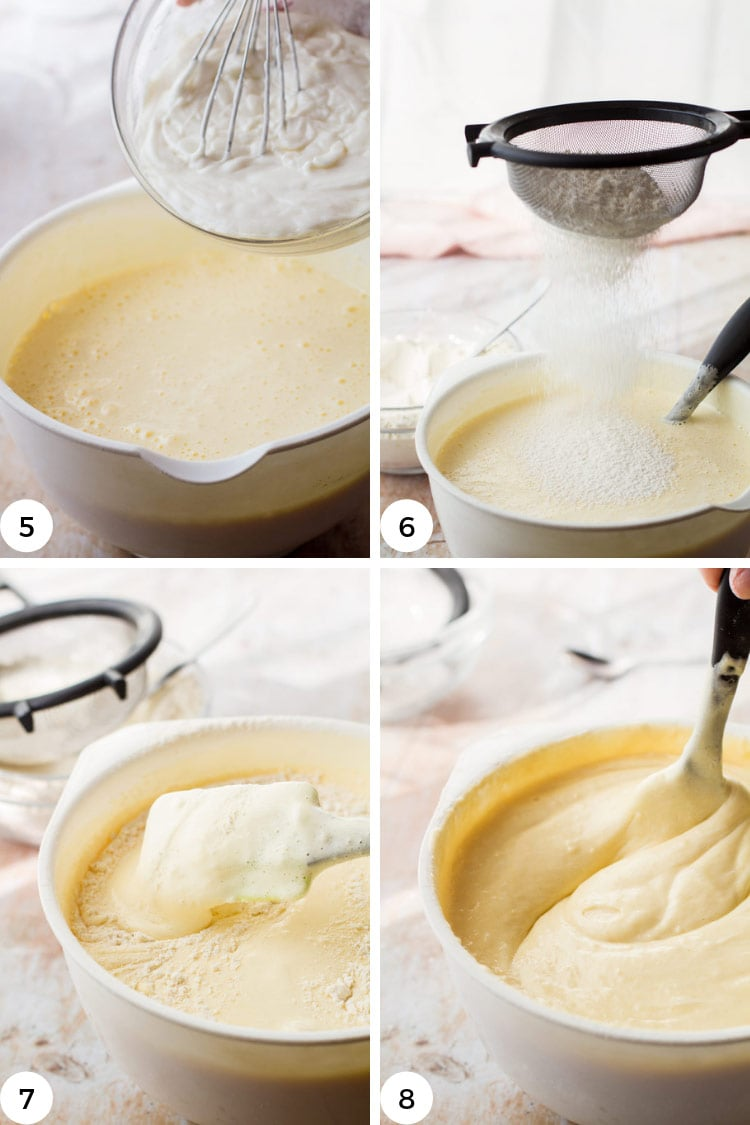 Step by step for folding and sifting batter.
