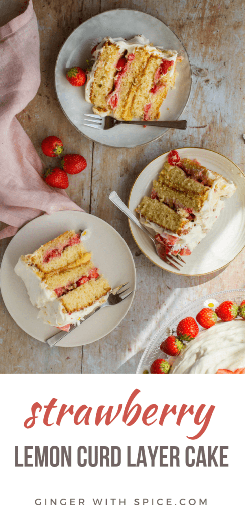 Three slices of strawberry cake. Flatlay, Pinterest pin.