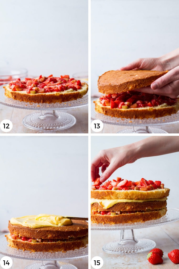 Step by step photos to assemble strawberry lemon curd cake.
