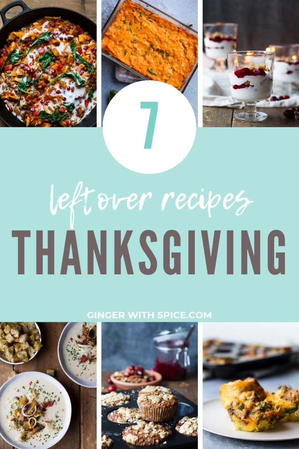 Pinterest pin of 7 recipes in the Thanksgiving leftovers.