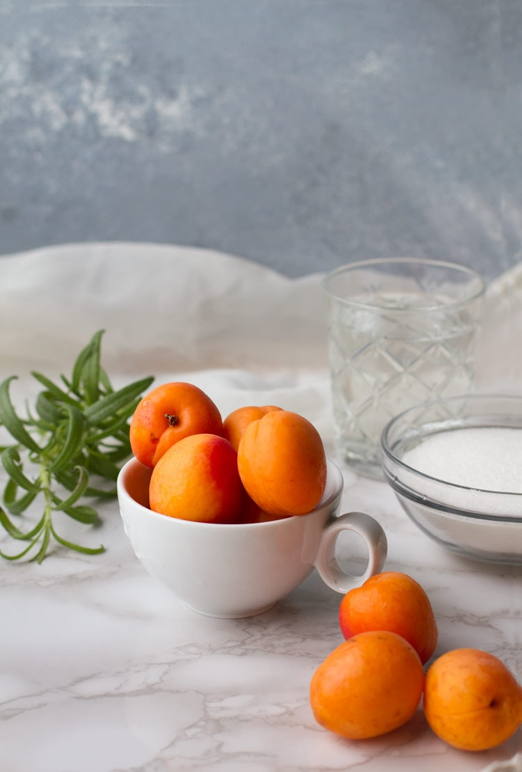 Apricot Rosemary Gin Fizz ingredients.